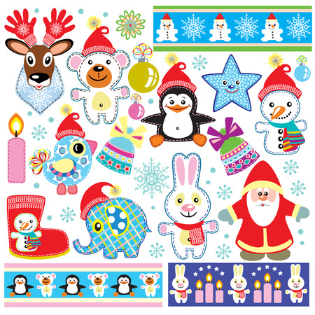 cartoon present: christmas and new year elements set for little kids