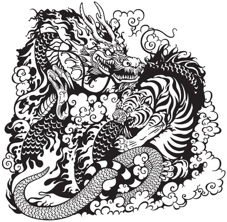 dragon and tiger fighting, black and white tattoo illustration Vectores