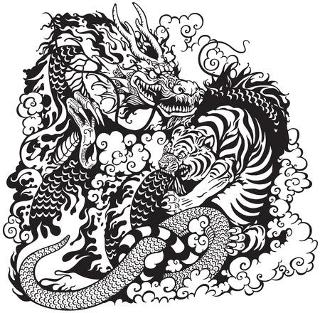the dragons: drag�n y el tigre de lucha, negro y blanco de la ilustraci�n del tatuaje