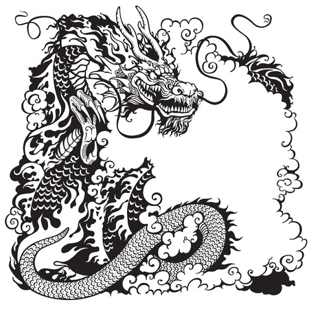 dragon: chinese dragon, black and white tattoo illustration