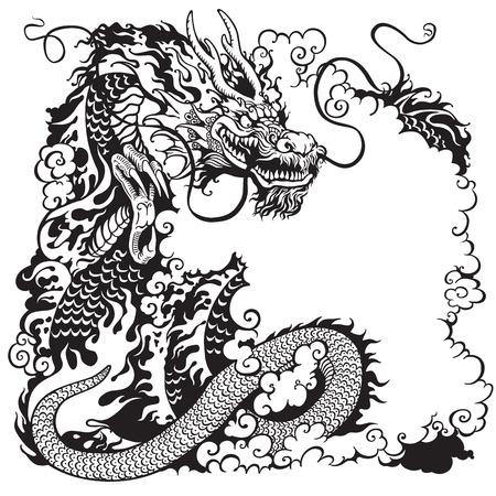 dragón chino, negro y blanco de la ilustración del tatuaje