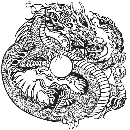 chinese dragon holding pearl, black and white tattoo illustration Vettoriali
