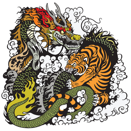 legends folklore: dragon and tiger fighting illustration