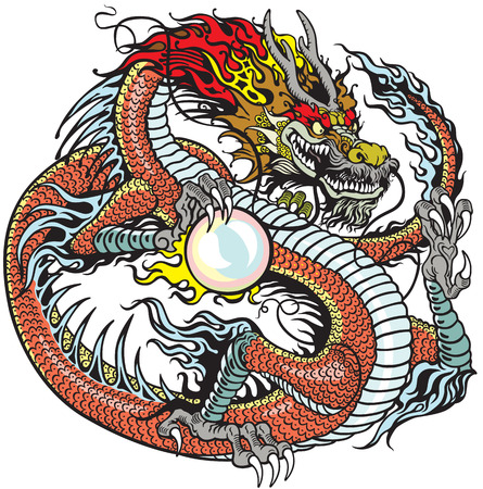 chinese dragon holding pearl , tattoo illustration Stock Illustratie