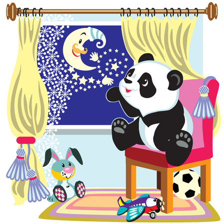 dreamer: cartoon panda bear look out the window at the moon , illustration for little kids Illustration