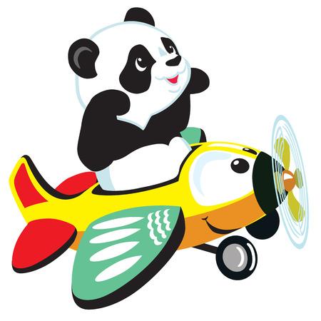 cartoon panda bear vliegen met het vliegtuig, geïsoleerde afbeelding voor kleine kinderen Stock Illustratie