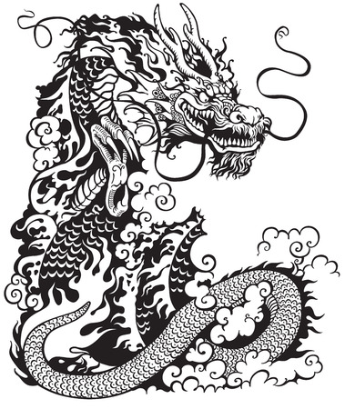 dragon tattoo: chinese dragon, black and white tattoo illustration