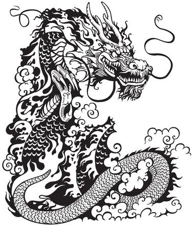 the dragons: drag�n chino, negro y blanco de la ilustraci�n del tatuaje