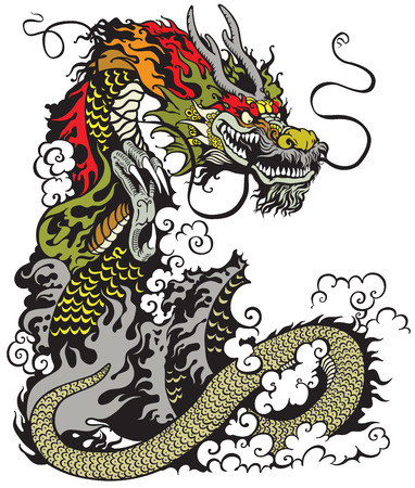 legends folklore: chinese dragon tattoo illustration Illustration
