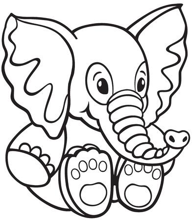 pl�schtier: Elefant Pl�schtier, Schwarz-Wei�-Karikatur f�r kleine Kinder