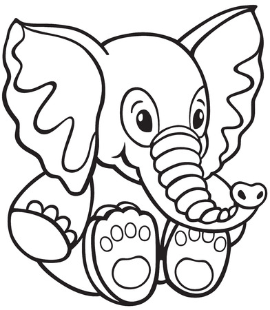 soft toy: elephant soft toy , black and white cartoon image for little kids