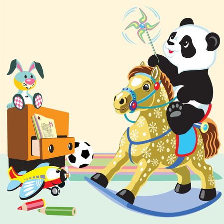 cartoon panda bear riding a rocking horse toy in the playing room Vector