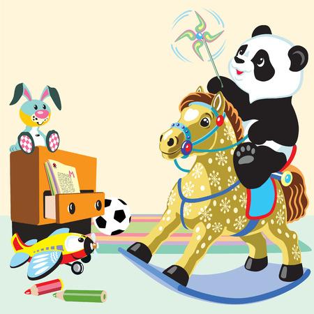 schommelpaard: cartoon panda het berijden van een hobbelpaard speelgoed in de speelkamer