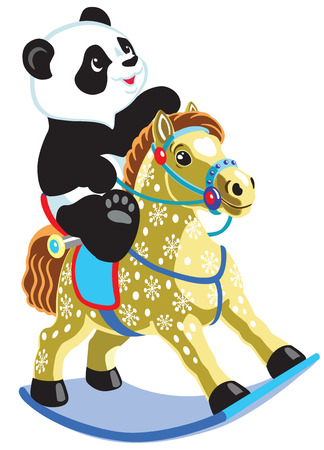 rocking horse: cartoon panda bear riding a rocking horse toy , isolated image for little kids