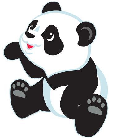 sitting cartoon panda bear , isolated image for little kids