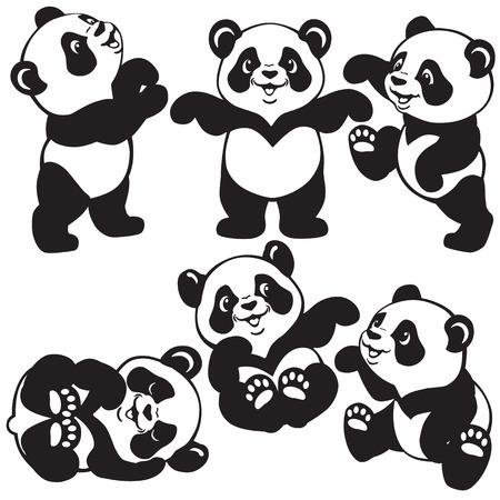 만화 팬더 곰, 작은 아이들을위한 흑백 이미지로 설정 일러스트