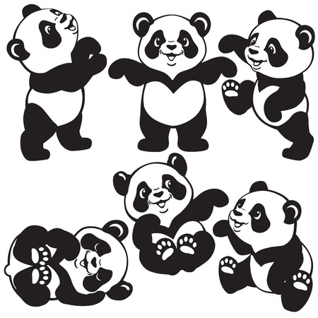 set with cartoon panda bear , black and white images for little kids Vectores