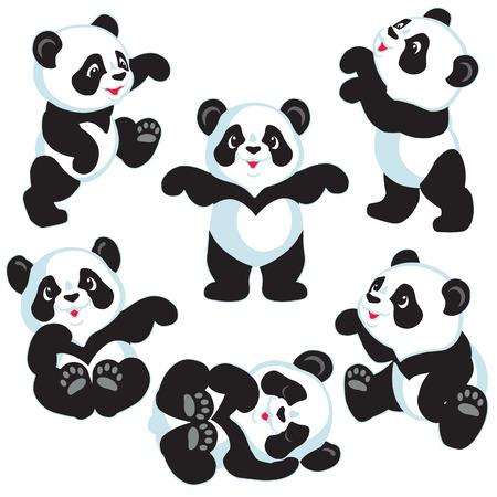 漫画のパンダのクマ、小さな子供のための分離された画像の設定します。