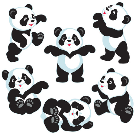 panda bear: set with cartoon panda bear , isolated images for little kids Illustration