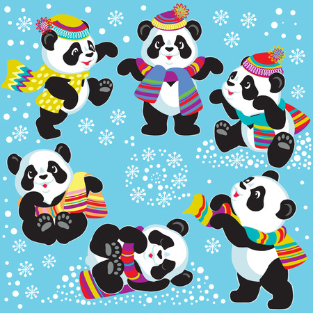for kids: set with cartoon panda bear in winter time , images for little kids Illustration