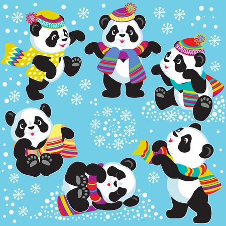serties de panda de bande dessinée dans l'heure d'hiver, les images pour les petits enfants