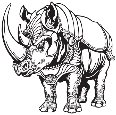 black and white image: rhino or rhinoceros in the armor , black and white tattoo image