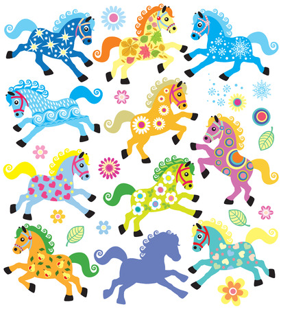 set with colorful decorative horses for babies and little kids