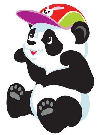 sitting cartoon panda bear, isolated image for babies and little kids 向量圖像