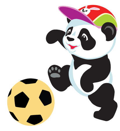 cartoon panda bear playing wit ball, isolated image for little kids