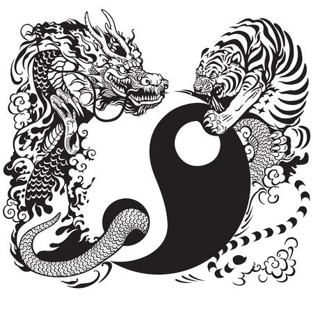 universum: yin Yang-Symbol mit Drachen und Tiger kämpfen, Schwarz-Weiß-Abbildung Tätowierung