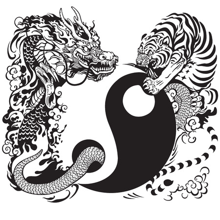 spiritual energy: yin yang symbol with dragon and tiger fighting, black and white tattoo illustration