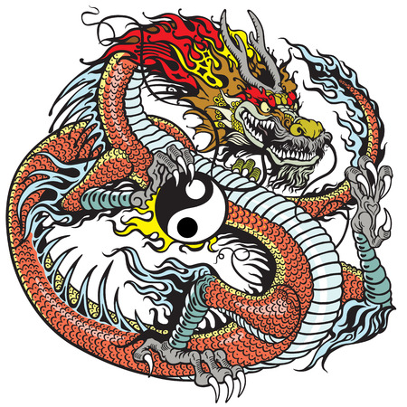 chinese zodiac: red dragon holding yin yang symbol, tattoo illustration
