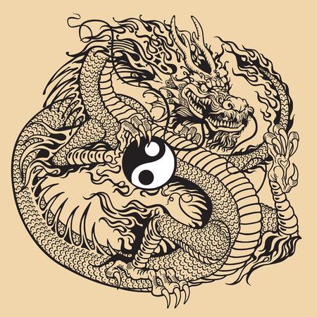 dragon holding yin yang symbol, black and white tattoo illustration Vector