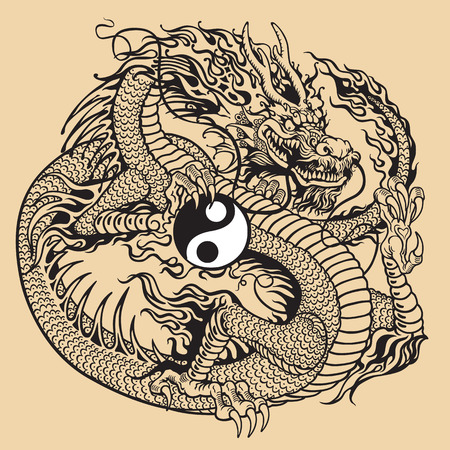 legends folklore: dragon holding yin yang symbol, black and white tattoo illustration Illustration