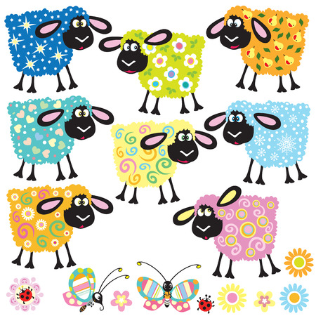 sheep wool: set with colorful decorative sheep for babies and little kids