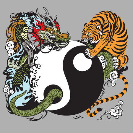 yin yang symbol with dragon and tiger Vettoriali