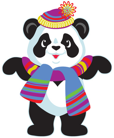 cartoon panda bear wearing colorful knitted hat and scarf, isolated image for little kids
