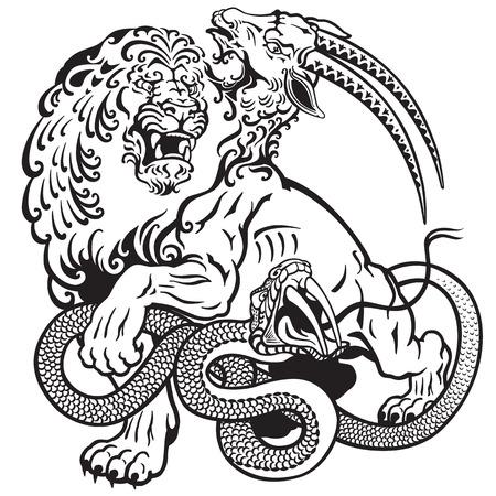 the mythological monster chimera , black and white tattoo illustration Vettoriali