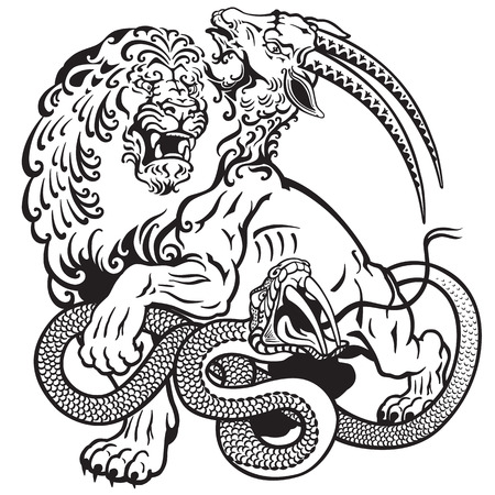 the mythological monster chimera , black and white tattoo illustration Vectores