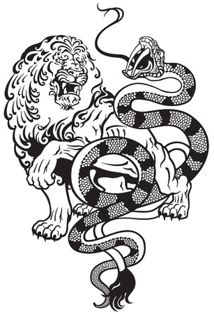 black snake: lion and snake struggle , black and white tattoo illustration
