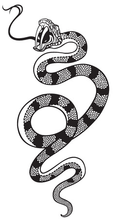 black snake: snake with open mouth , black and white tattoo illustration