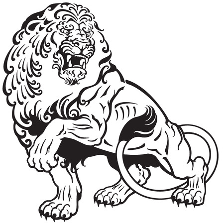 angry lion , black and white tattoo illustration
