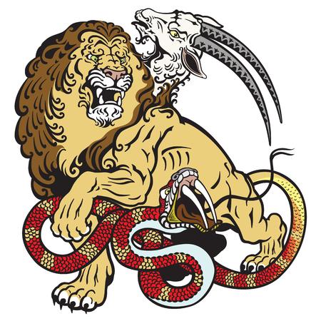 chimera: the mythological monster chimera. Tattoo illustration isolated on white