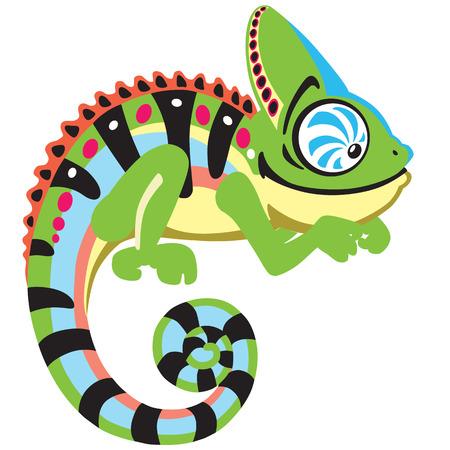 chameleon lizard: cartone animato camaleonte lucertola. Vista laterale isolato su bianco
