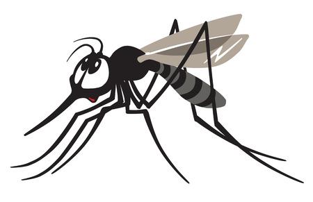 moscerino: moscerino zanzara cartoon isolato su bianco Vettoriali