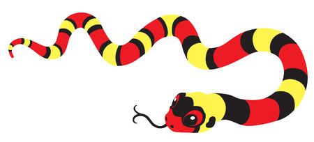 serpiente caricatura: de dibujos animados de color escarlata rey-serpiente aislado en blanco Vectores