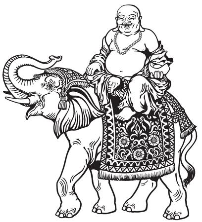 happy buddha riding elephant , black and white image Illustration