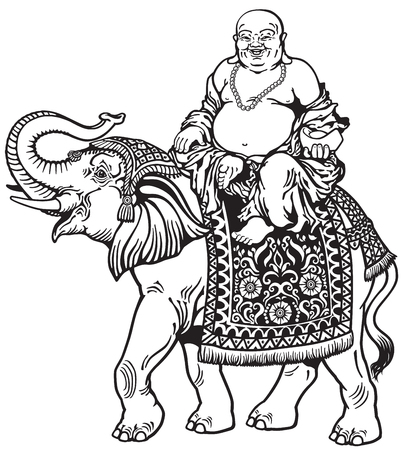chinese buddha: happy buddha riding elephant , black and white image Illustration