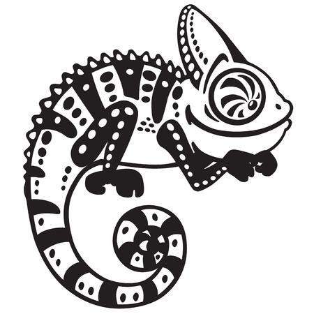 chameleon lizard: cartone animato camaleonte lucertola. Vista laterale in bianco e nero