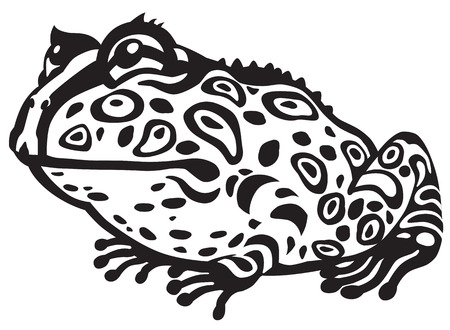 terrarium: Cartoon horned frog. Black and white image